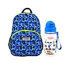 英國Hugger孩童背包水壺組 迷彩藍+嘟嘟火車