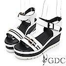 GDC-真皮歐美拼接質感楔型熱賣涼鞋-白色