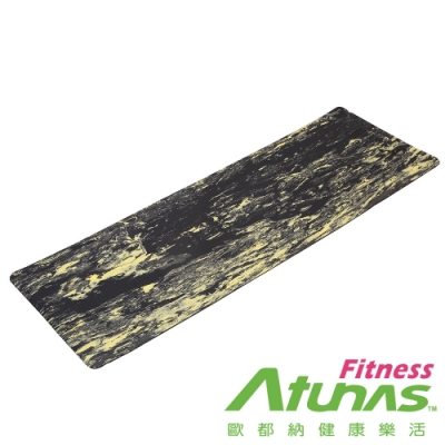 【ATUNAS 歐都納】健身運動瑜珈墊8mm(EM-7208黑黃大理紋/有氧/塑身/輕量)