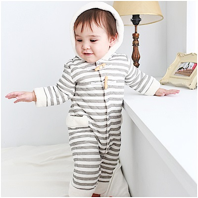 baby童衣 全開扣加厚條紋連帽連身衣 47034