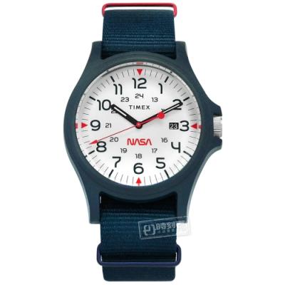TIMEX 天美時 Acadia x NASA 聯名  尼龍帆布手錶-白x藍/40mm