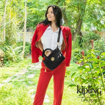 Kipling 牛年限定,質感黑跳好運金簡約手提肩背托特包-KALA COMPACT