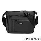 SPRING-微光澤輕量側背包-大-騎士黑