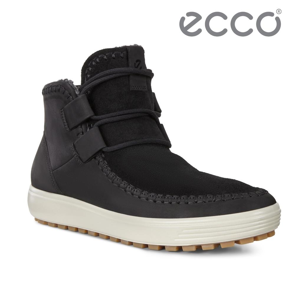ECCO SOFT 7 TRED W 冬季輕盈休閒保暖短靴 女-黑
