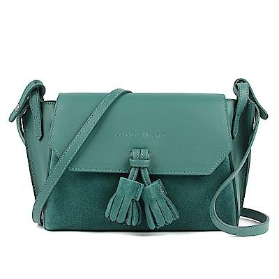 LONGCHAMP Penelope Soft 系列 流蘇小牛皮拚接斜背包(綠色)