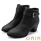 ORIN 簡約時尚 素面典雅釦環粗跟短靴-灰色