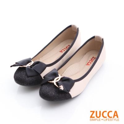 ZUCCA-拼接金屬朵結環平底鞋-白-z6608we