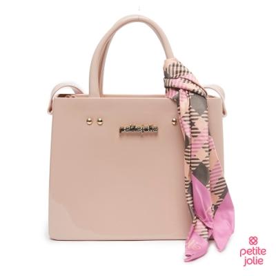 Petite Jolie-絲巾裝飾果凍肩背/手提仕女包-粉膚色