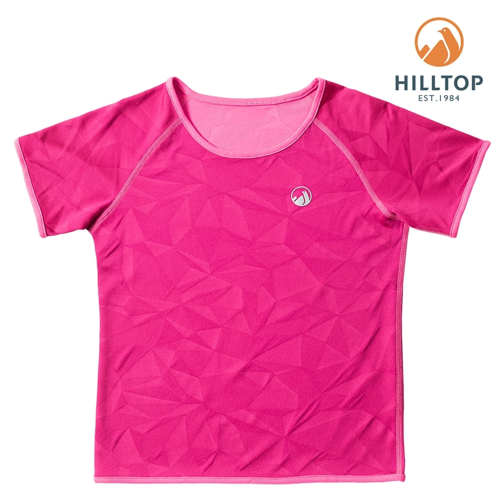 【hilltop山頂鳥】童款吸濕快乾抗UV抗菌雙面穿T恤S04C12亮洋紅/螢光粉紅