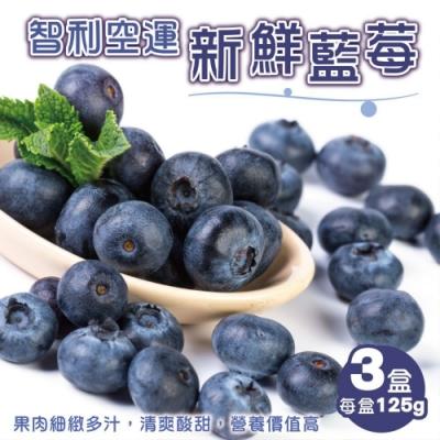 顧三頓-智利空運新鮮藍莓x3盒(每盒125g±10%)