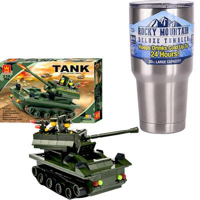 《Tank World》益智組裝DIY坦克造型積木238pcs+冰霸杯組