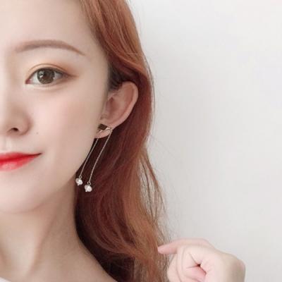 梨花HaNA 無耳洞/耳針款韓國氣質加分垂綴一字珍珠耳環