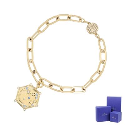 SWAROVSKI 施華洛世奇 Elements璀璨星月六角形吊牌鎖鏈磁扣金色手鍊手環
