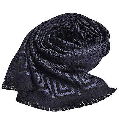 VERSACE 義大利製梅杜莎LOGO千鳥格紋圖騰品牌字母羊毛披肩圍巾(黑/深灰)