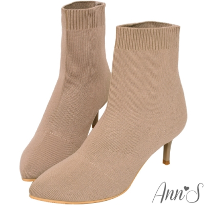 Ann'S維密女神-極致女人味防潑水細跟襪靴-杏