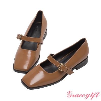 Grace gift-素面方頭瑪莉珍鞋 卡其漆