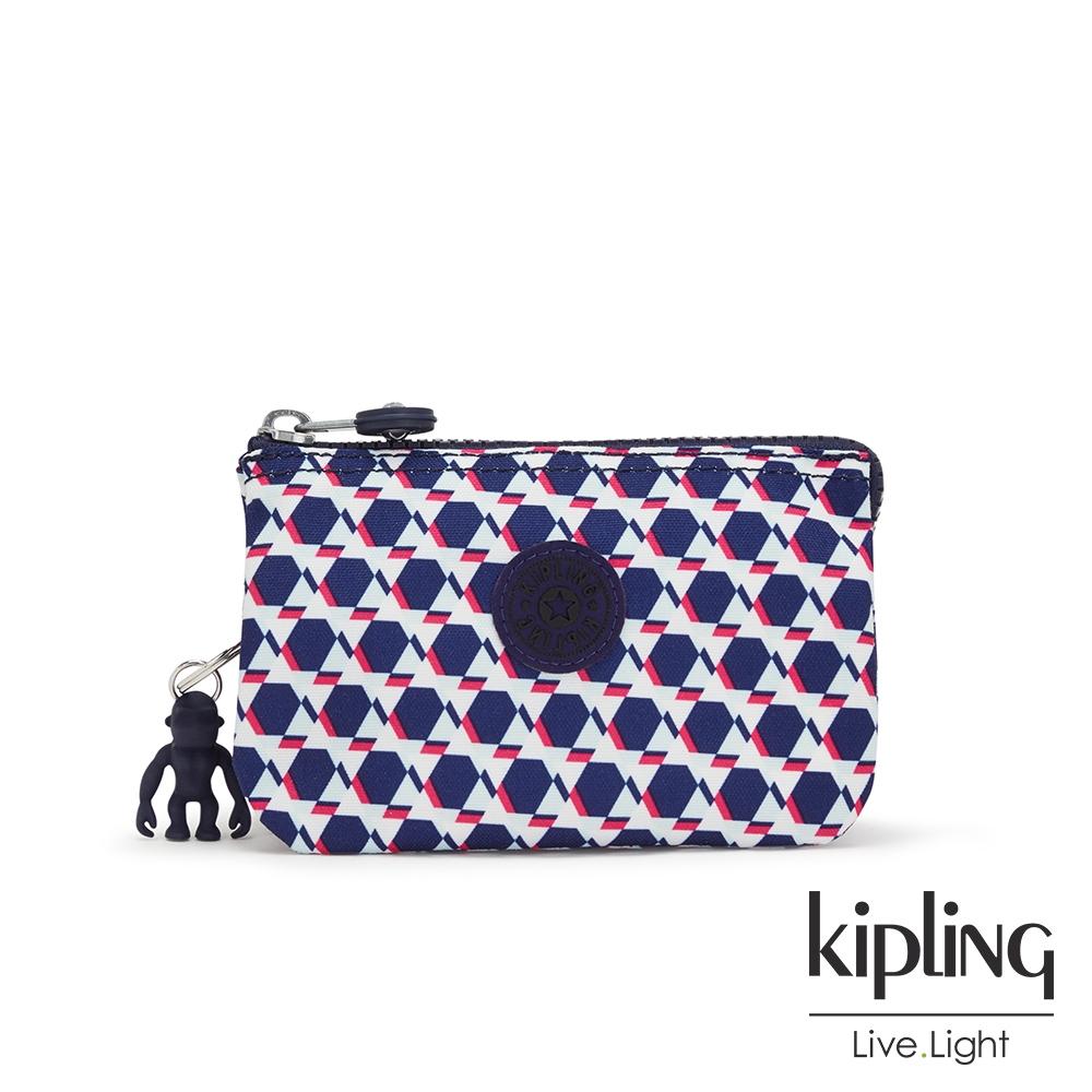 Kipling 典雅幾何印花三夾層配件包-CREATIVITY S