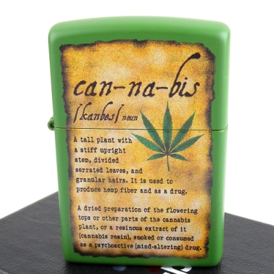 ZIPPO 美系~Cannabis-大麻葉圖案綠色烤漆打火機