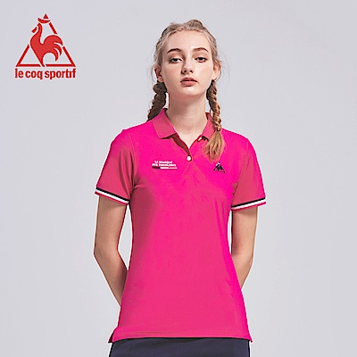 le coq sportif 法國公雞牌吸濕排汗多色經典短袖POLO衫 女-桃紅