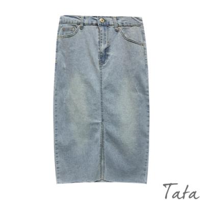 微刷破抽鬚開岔牛仔裙 TATA-(M~XL)