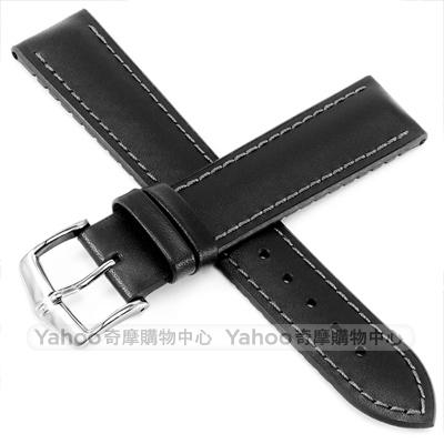 海奕施 HIRSCH James L 300米防水 小牛皮橡膠錶帶-黑