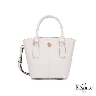 【Elegance】MONA 轉鎖手提兩用包-白色