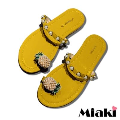 Miaki-拖鞋可愛珍珠平底涼鞋-黃