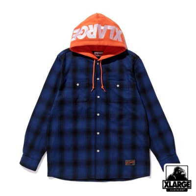 XLARGE  HOODED FLANNEL SHIRT格紋帽T-藍