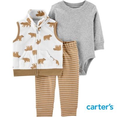 【Carter s】溫暖熊熊印圖3件組套裝(12M-24M) (背心/長褲) (台灣總代理)