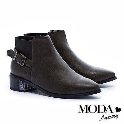 短靴 MODA Luxury 獨特異材質拼接側方釦帶造形尖頭粗跟短靴-綠