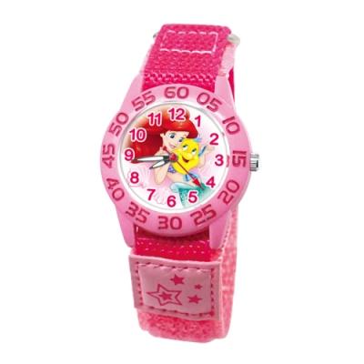 DISNEY迪士尼 自黏休閒織帶手錶小美人魚33mm桃紅色