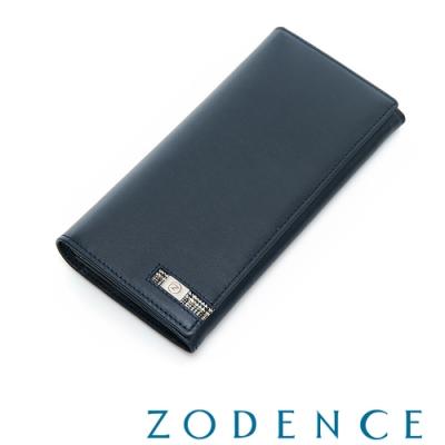 ZODENCE MAN格紋系列進口牛皮11卡長夾 藍