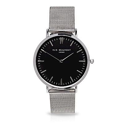 Elie Beaumont 英國時尚手錶 牛津米蘭錶帶系列 黑錶盤x銀色錶帶錶框38mm