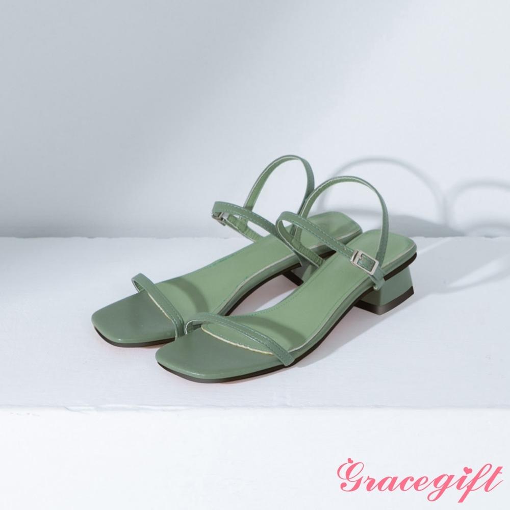 Grace gift-方頭一字繫踝中跟涼鞋 綠