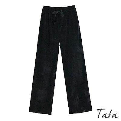 絨面緞帶鬆緊寬褲 TATA