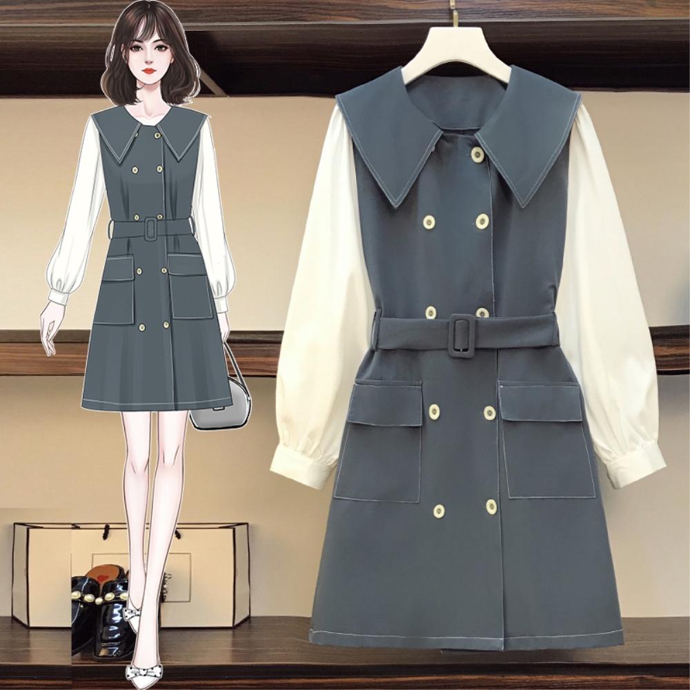 DABI 韓國風優雅撞色娃娃臉雙排釦長袖洋裝