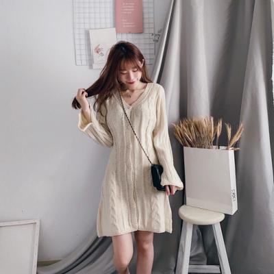 優雅麻花毛衣長袖洋裝(3色)