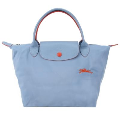 LONGCHAMP Le Pliage 系列刺繡短把摺疊水餃包(小/霧藍)