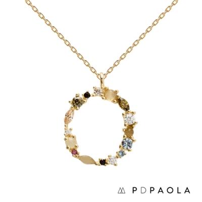 PD PAOLA 西班牙輕奢時尚品牌 字母O 彩鑽寶石項鍊
