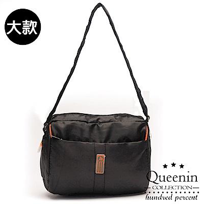 DF Queenin流行 - 日系甜美輕盈反光條防潑水斜背包-大-黑色