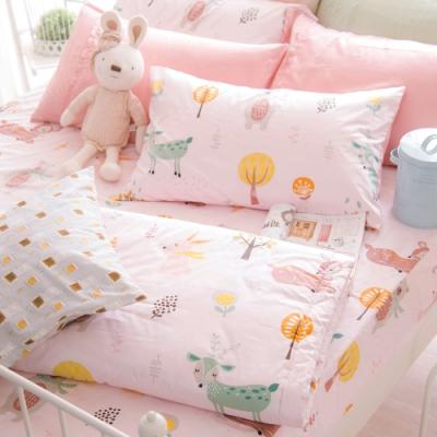OLIVIA  小森林 粉 標準雙人床包夏日涼被四件組 300織精梳純棉 台灣製