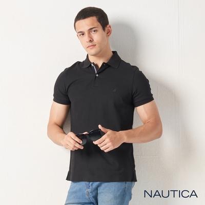 Nautica合身素色吸濕快乾短袖POLO衫-黑