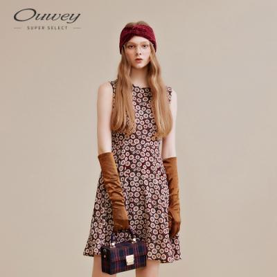 OUWEY歐薇 復古印花無袖洋裝(紅)
