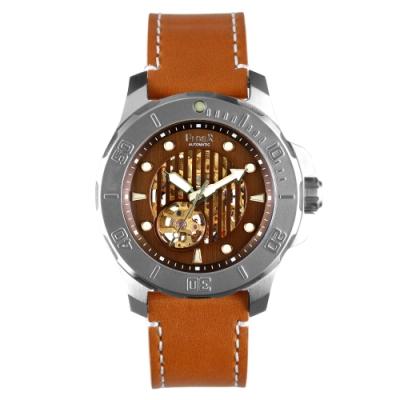 FIBER|海洋潛將系列|機械潛水錶 直紋鏤空咖啡色