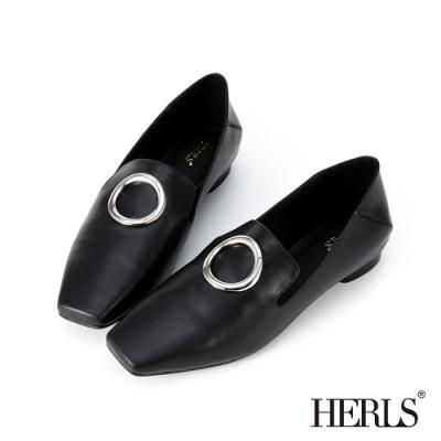 HERLS 簡約洗鍊 全真皮圓釦小方頭樂福鞋-黑色