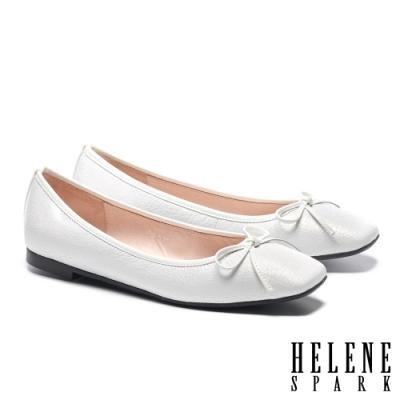 平底鞋 HELENE SPARK 百搭舒適蝴蝶結繫帶全真皮方頭平底鞋-白