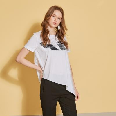 ICHE 衣哲 時尚立體拼貼不規則造型上衣(兩穿)-沁白