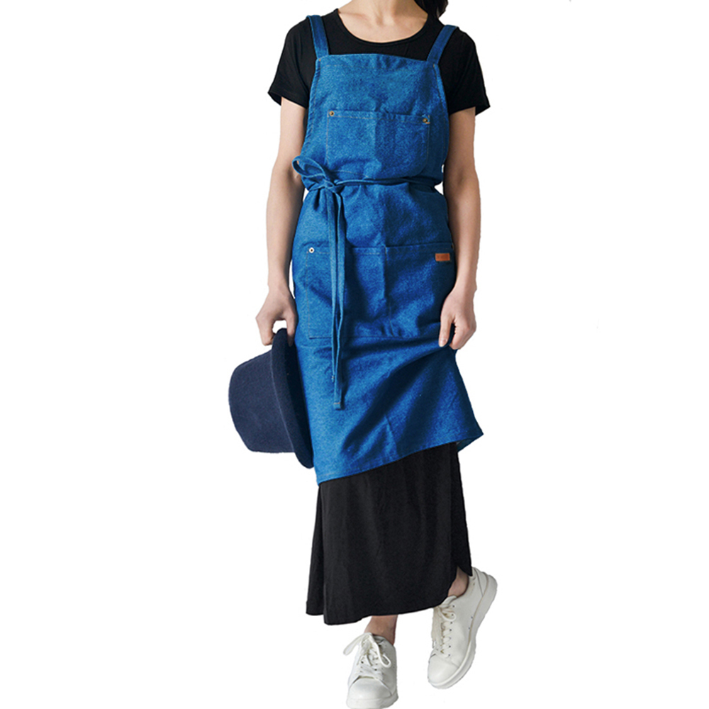 韓風 牛仔口袋圍裙 單寧風 廚房圍裙/工作服