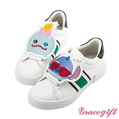 Disney collection by grace gift徽章撞色織帶休閒鞋白黑