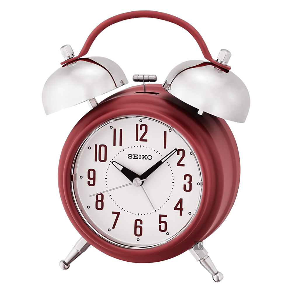 SEIKO精工 滑動式秒針貪睡鬧鐘(QHK051R)-紅
